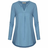 Timeson Women Long Sleeve V Neck Autumn Spring Blouse Solid Color Loose Tunic For Female With
