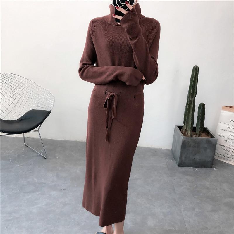 Maille camel Femme Pull Col Longue En gris Mode Mi longue À Automne brown Haut Roulé apricot Nouveau Et Noir 2019 Robes La Robe Printemps Aransue 7ygbf6