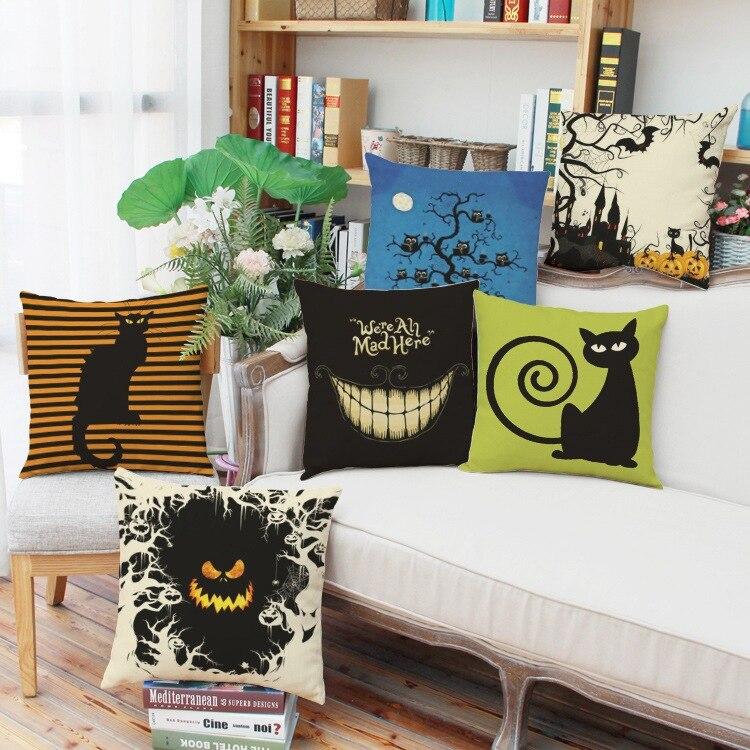 2pcs Halloween Pattern Linen Comfortable Office Lumbar
