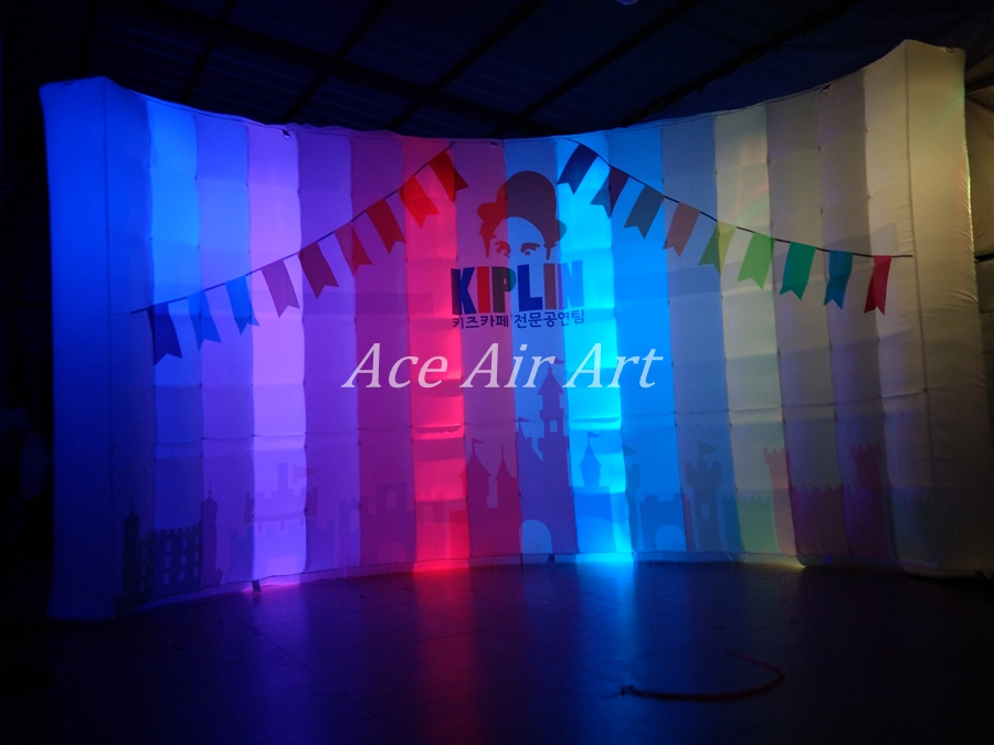 customized logo black Inflatable photo booth backdrop,LED KIPLIN WALL for photography