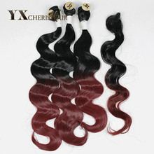 YXCHERISHAIR бразильська хвиля тіла 3 пачки з мереживною замком Ombre натуральний колір синтетичне поживне покриття для волосся 4шт / упаковка 240г