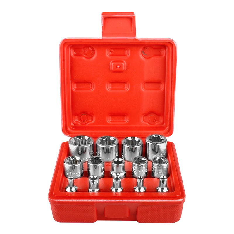 14pcs Torx Socket Star-shaped Set 1/4'' 3/8'' 1/2'' Drive E4-E24 Wrench Head Hexagonal Spanner Allen Auto Repair Hand Tools milda new 14pcs set e torx star female bit socket set 1 2 3 8 1 4 drive e4 e24 repair tool hand tool set high quanlity