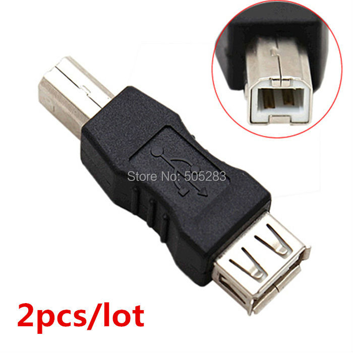 2pcs USB to USB B Male Connector Cable Adapter Computer Printer Scanner USB B Adapter Converter USB Female Plug Socket HY568*2 best price portable usb 2 0 type a male to usb type b female plug extend printer adapter converter new arrival for