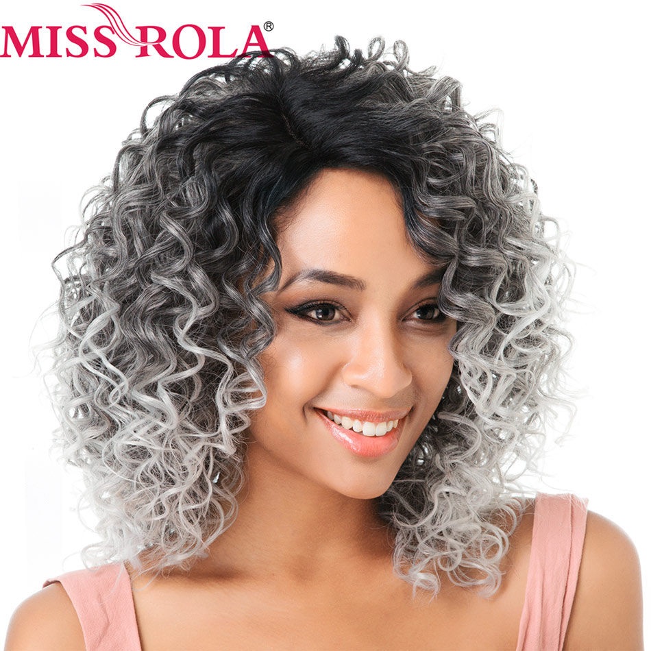 Miss Rola Hair Short Synthetic Wigs Kinky Curly Lace Front Wigs For Black Women Heat Resistant Ombre 1B/Grey Free Shipping