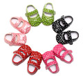 New 5 Colors 0- 2 Years Newborn Baby Girl Princess PU Leather Polka Dots Infant Toddler Mary Janes Big Bow Soft Soled Shoes