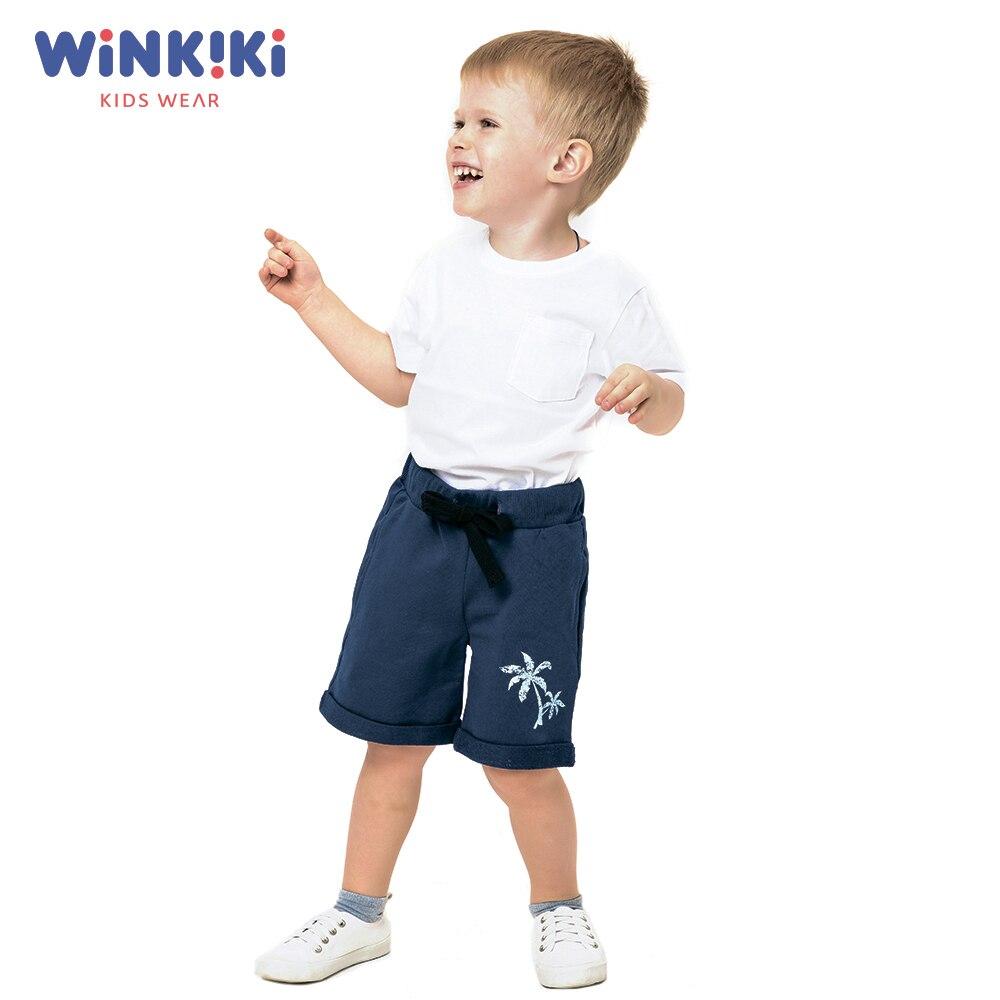 Shorts WINKIKI WKB91329 children clothing Cotton Blue Boys Casual Print boys cartoon dog print tee