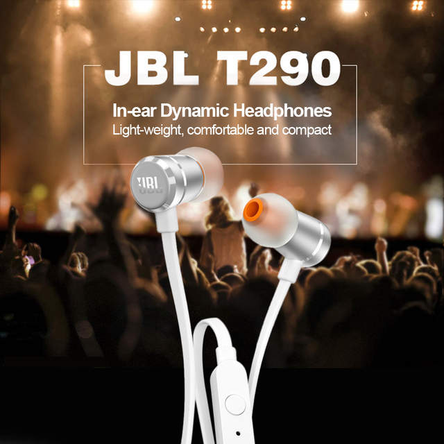 US $19 11 35% OFF|JBL T290 3 5mm Wired Earphones JBL Stereo Music Headset  Dynamic Bass Earphone One Button Remote Hands free with Microphone-in Phone