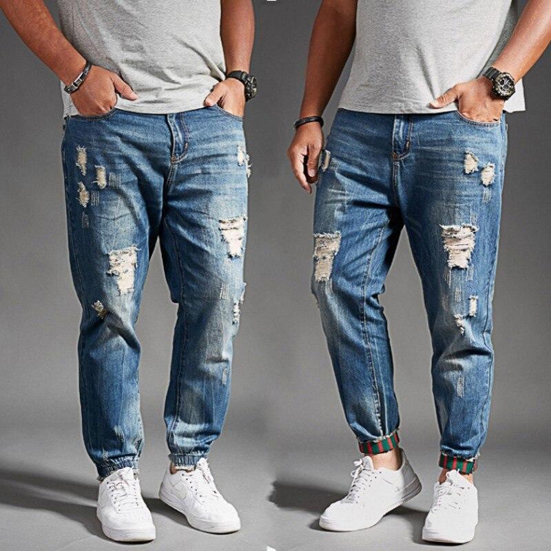 Plus size men   jeans   slim Ankle-Length Pants 8xl 4xl 6xl 48 50 52 mens hiphop pants cotton tops Distressed men brand   jeans