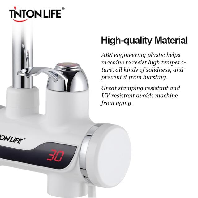 TINTONLIFE EU Plug Tankless Instant Faucet Water Heater Instant Water Heater Tap Kitchen Hot Water Crane LED Digital 3