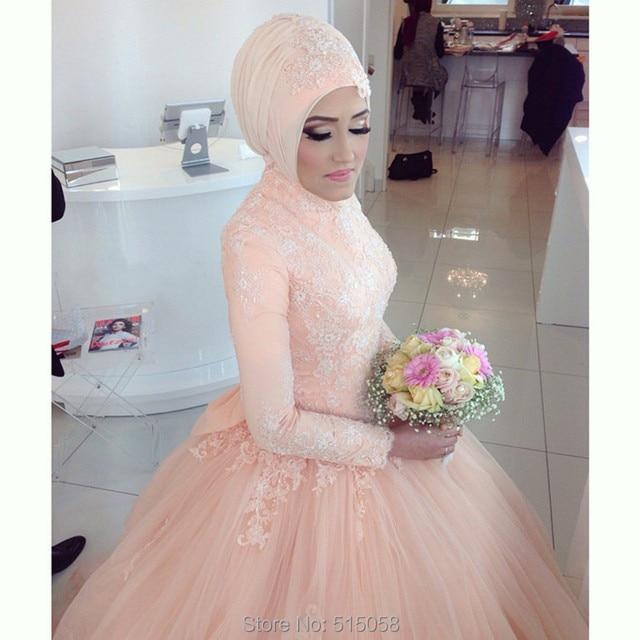 Long Sleeves Lace Muslim Wedding Dresses Ball Gowns Hijab Arabic Bridal Dress 2015 Abaya Bride