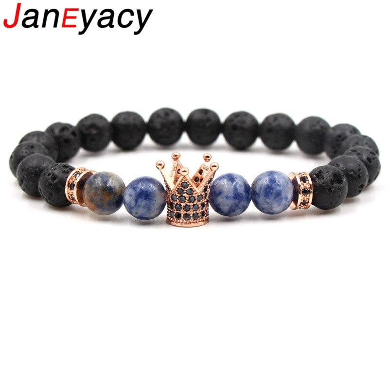 Купить janeyacy 2018 новинка 8 мм вулканический камень корона браслет