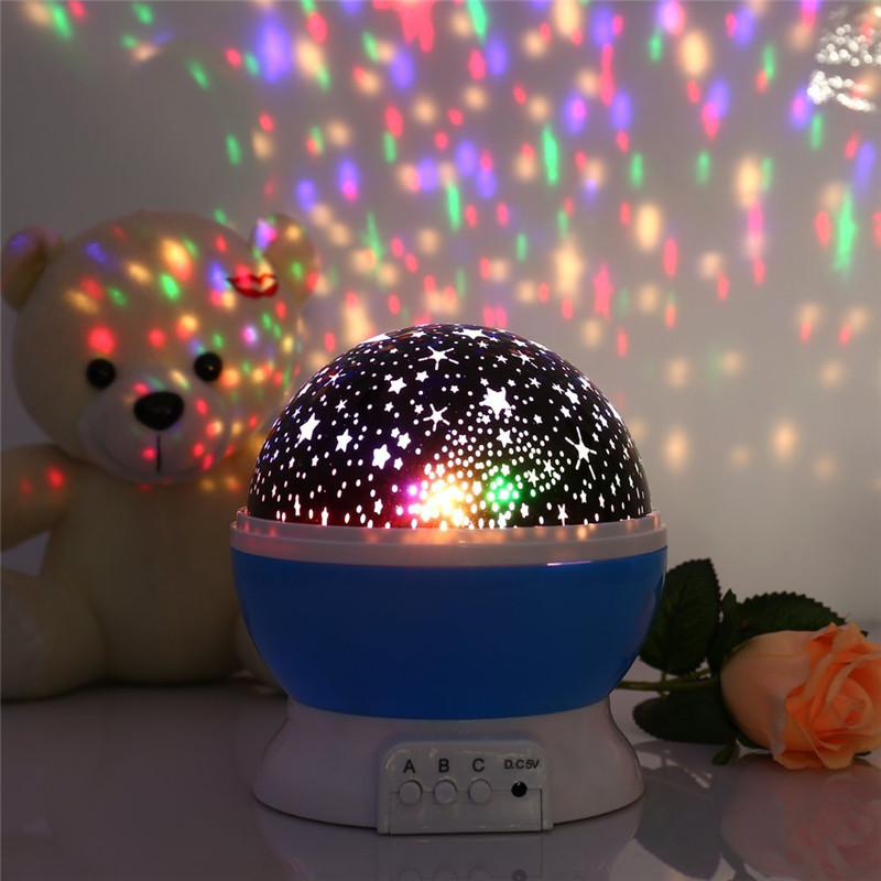 Novelty Starry Sky Moon Projector Night lamp 360 Degree Rotating nightlights for Bedroom Kids Battery powered USB Free shipping