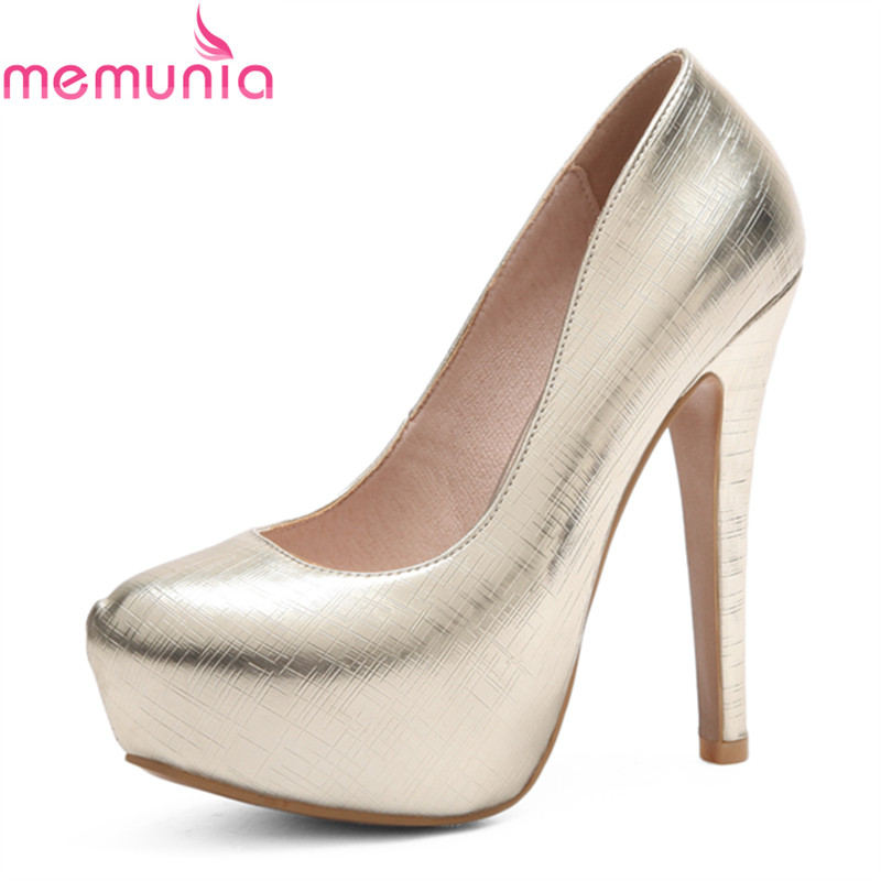 MEMUNIA ladies high heels spring autumn thin heels platform round toe fashion sexy big size wedding shoe bridal shoes memunia spring autumn fashion high