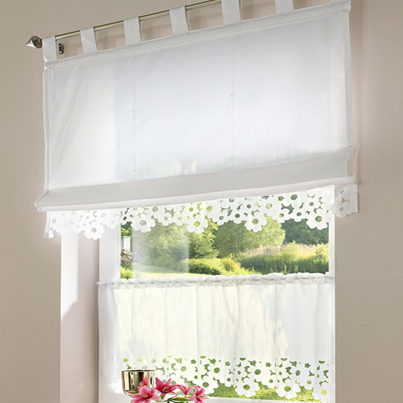 Urijk 1PC Kitchen Cuatains Pastoral Small Cafe Curtain White Sheer Curtains  For Kitchen Translucidus Embroidered Decoration