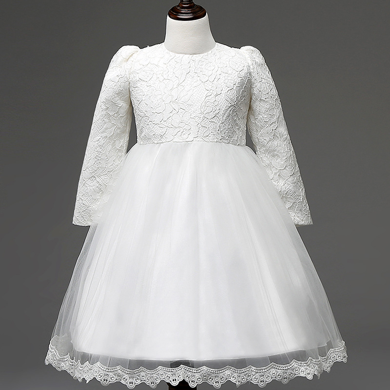 0-10Y Long sleeve baby tutu Lace princess girls winter dress children autumn clothes Baptism dress 2016 girl birthday dresses
