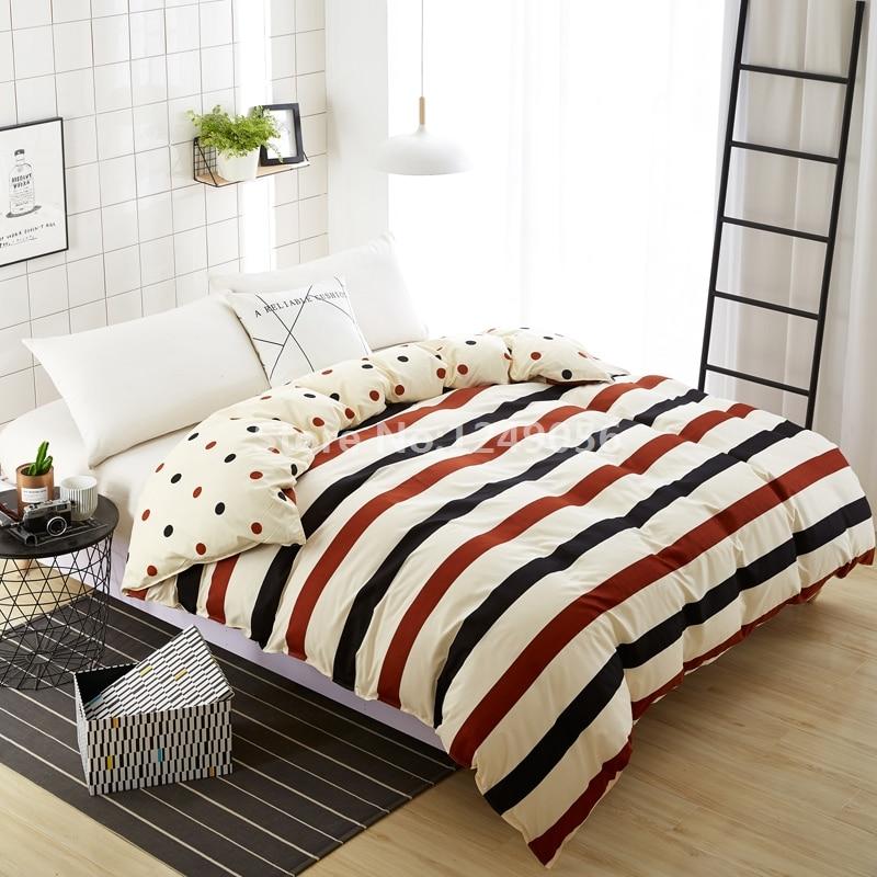 Home Textile 1 Piece Duvet Cover with Zipper Fashion Stripes Point Cotton Quilt Cover Plaid Comforter Case for Home Bedding
