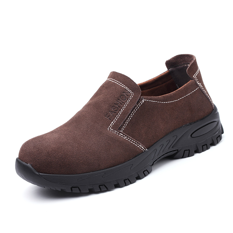 big size men fashion steel toe covers work safety tooling shoes cow suede leather slip on platform anti-pierce security boots купить недорого в Москве
