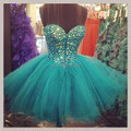 Cocktail Ball Gown Sweetheart Neck Sleeveless Above Knee Short Mini Organza Cocktail Dresses Crystal Beading 2016 Party Dress