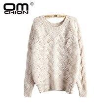 OMCHION Pull Femme Winter 2018 Autumn O Neck Oversized Knitted Mohair Sweater Women Long Sleeve Twist Slim Korean Pullover LS24