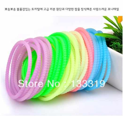 High Quality Fashion Fluorescent Color Super Elastic Whorl Candy Bracelet Hair Ring Hair Rope Fashion Headwear Wholesale