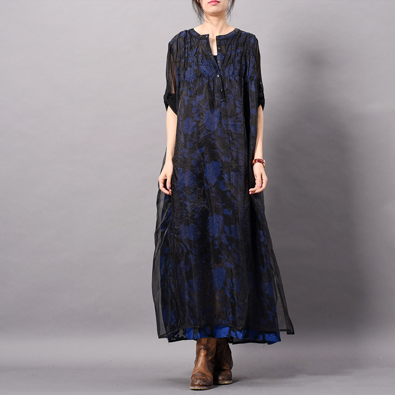 Johnature Blue Floral Dress Vintage Organza Fake Two Pieces Women Cloths 2019 Spring New Chinese Style