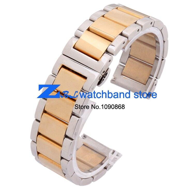 Paslanmaz çelik Kordonlu Saat Saatı bant metal kayış kelebek toka - Saat Aksesuarları - Fotoğraf 2