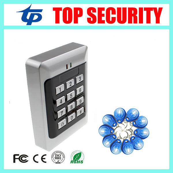 Smart card reader door access control system 125KHZ smart RFID card proximity card door access control reader+10pcs RFID keys outdoor mf 13 56mhz weigand 26 door access control rfid card reader with two led lights