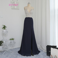 Sexy Robe De Soiree 2018 Sheath Deep V neck Beaded Crystals Slit Navy Blue Long Prom Dresses Prom Gown Evening Dresses