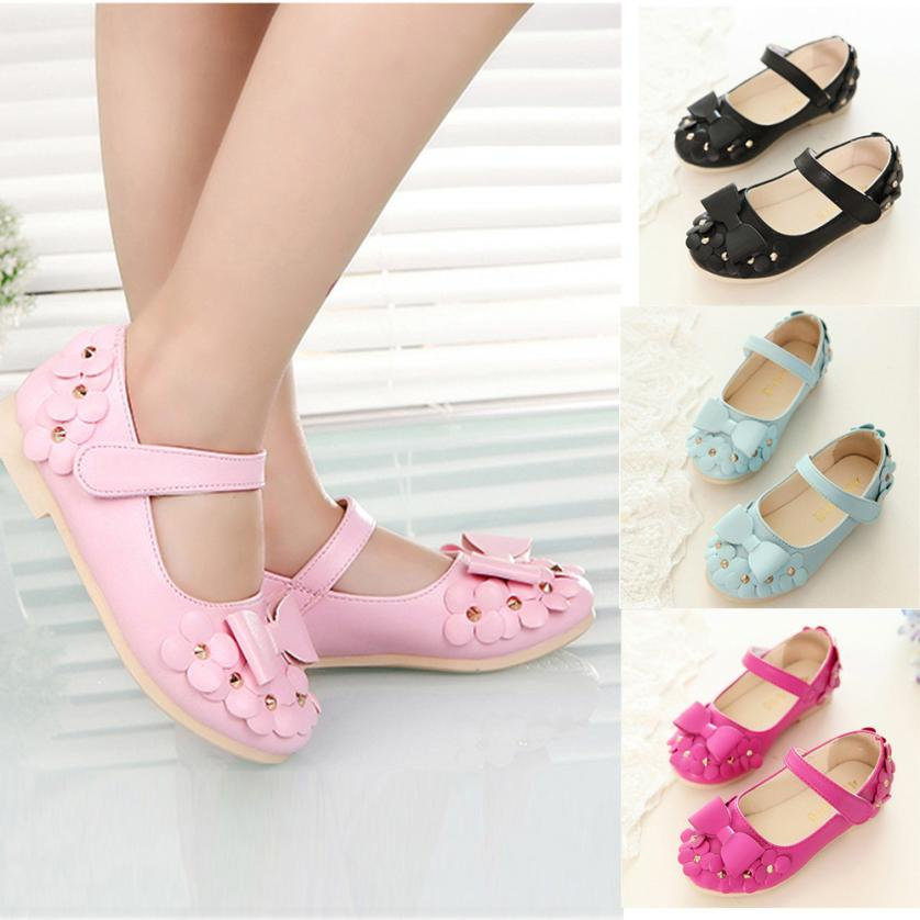 10 Size!! 2017 Summer New Flat Baby Girls Shoes Baby Girl Sandals Flowers Bowknot Sandals Soft-Soled Princess Kids Shoes 4 Color