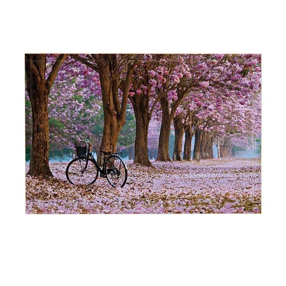 Xe đạp Tắm Thảm Cây Và Xe Đạp Lãng Mạn Mùa Sakura Waft Không-Trượt Chùi Chân Sàn Entryways Phía Trước Cửa Mat Trẻ Em tắm Mat