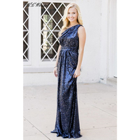 Elegant One Shoulder Navy Blue Evening Dress 2018 Floor Length Bling Sequins Long Prom Gowns 2018 New Cheap Party Dresses