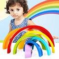 Montessori Bloques De Madera De Juguete de Colores Del Arco Iris del cabrito Suave Fijó 7 UNIDS juguetes Clásicos de alta calidad de regalo para bebé