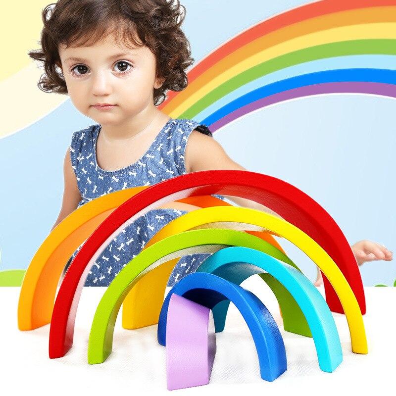 Koka Montessori bloki, kas montē 7 gab / komplektā krāsainus varavīksnes blokus rotaļlietām bērniem Brinquedos Oyuncak Brinquedo Juguetes