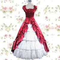 Rouge et Blanc Princesse cosplay costume pour fille lolita dress vintage médiévale gothique victorienne lolita dress femmes d'été dress