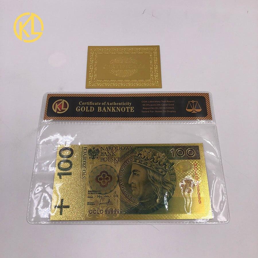 1 шт. unised 1994 Edition Poland Currency designed цветной 24 K позолоченный банкнот 500 PLN для банка подарочные сувениры - Цвет: Темно-синий