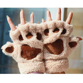 1Pair Women Fingerless Fluffy Bear Cat Plush Paw Gloves Ladies Winter Warm Paw Gloves Mittens Wrist Cute Gloves Gifts S494