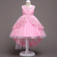 Toddler Kids Baby Girls Summer White Dresses Long Tail Party Prom Costume Girl Pageant Dancing Frocks Lace Tutu Layered Dress