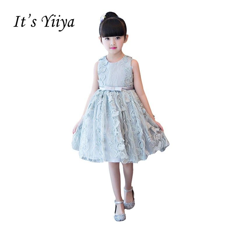 It's YiiYa Gray O-neck Sleeveless Zipper Bow   Flower   Embroidery Knee-length Ball Gown Princess   Flower     Girls     Dress   Communion TS243