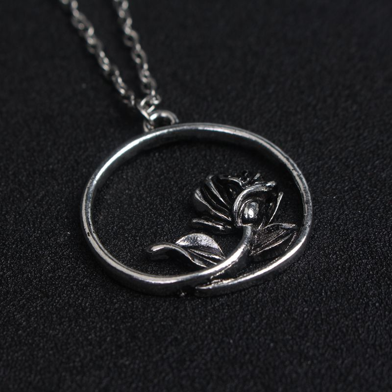 SONGCHANGJE 5pc/lot Beauty and the Beast necklece pendant Rose round Pendant For man and woman fans for Mothers day
