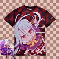 Japanese Anime No Game No Life Shiro T Shirt Polyester T Shirt Summer Active Animation Men