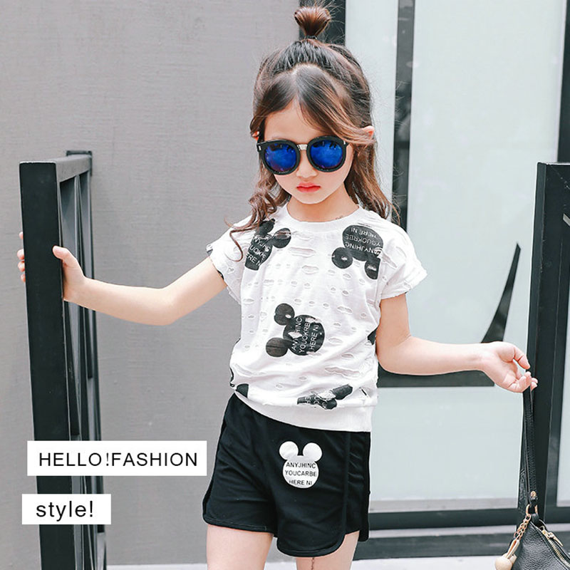 Child Ladies Garments Units 2018 Summer time Coronary heart Printed Woman Quick Sleeve Tops Shirts + Shorts Informal Children Youngsters's Clothes Go well with Clothes Units, Low-cost Clothes Units,...