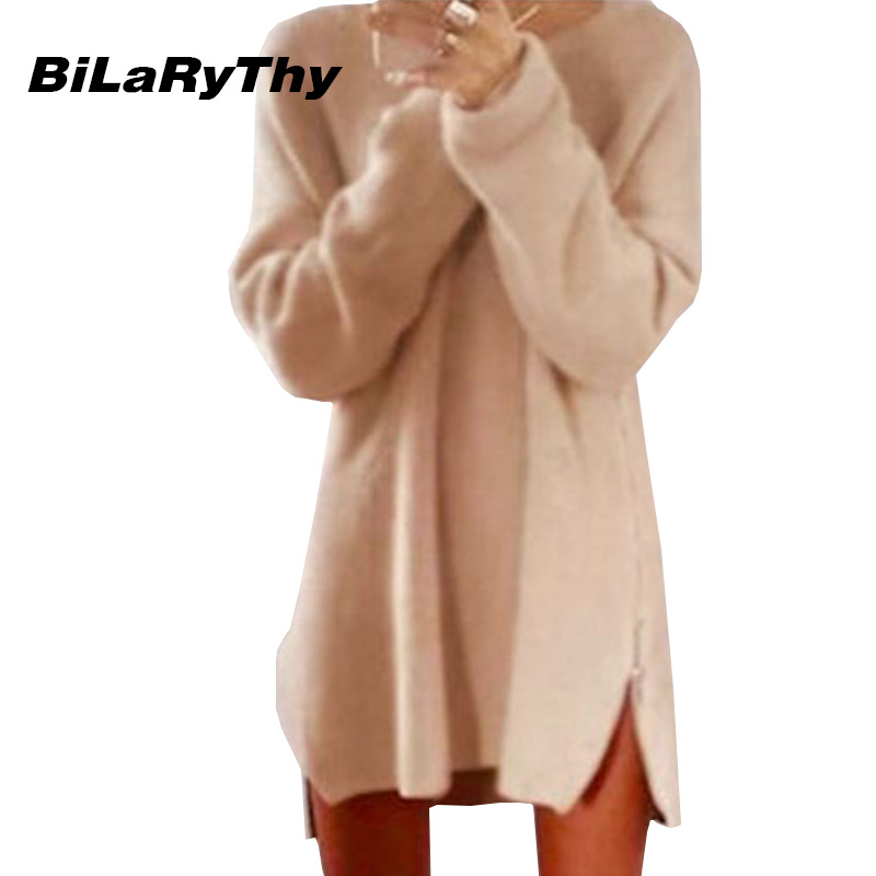 BiLaRyThy Autumn Winter Women Casual Knitted Loose Dress O Neck Long Sleeve Solid Side Zippered Dresses Femininas Vestidos knitted winter dress mini dresses for women tunic vestidos round neck long sleeve loose casual basic ws5018u