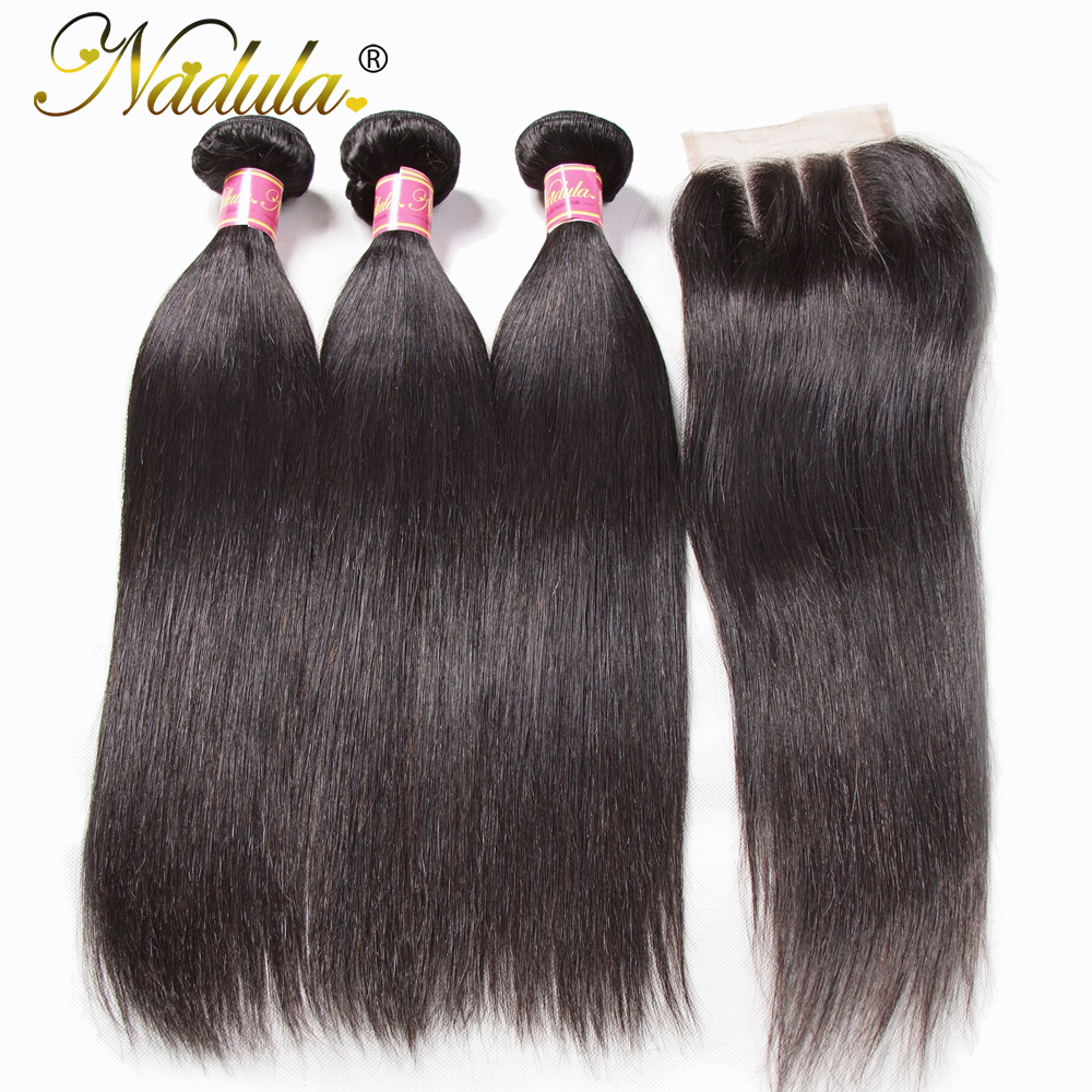 Image 3 - Nadula Hair Peruvian Straight Hair Bundles With Closure 3PCS Peruvian Hair Straight Remy Human Hair Bundles With Closure-in 3/4 Bundles with Closure from Hair Extensions & Wigs