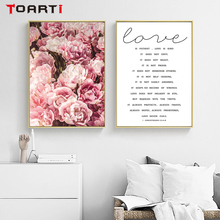 Beautiful Love Quotes&Flowers Wall Art Modern Realistic Painting Canvas Vintage Poster Nordic Prints Living Room Home Decoration