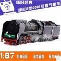 Ретро Вперед тип 2 газ локомотив паровоз Высокое качество сплав имитационная модель поезда 1: 87 Детские игрушки свет вытяните назад звук