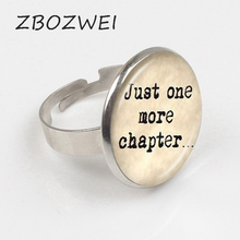 ZBOZWEI 2018 Book Lover Quote Just One Chapter Ring Word Jewelry Letter Sweater Ring Reader Bookworm Gift Glass Cabochon Ring zbozwei 2018 st anthony of padua saint ring st anthony jewelry cabochon religious religious gift ring