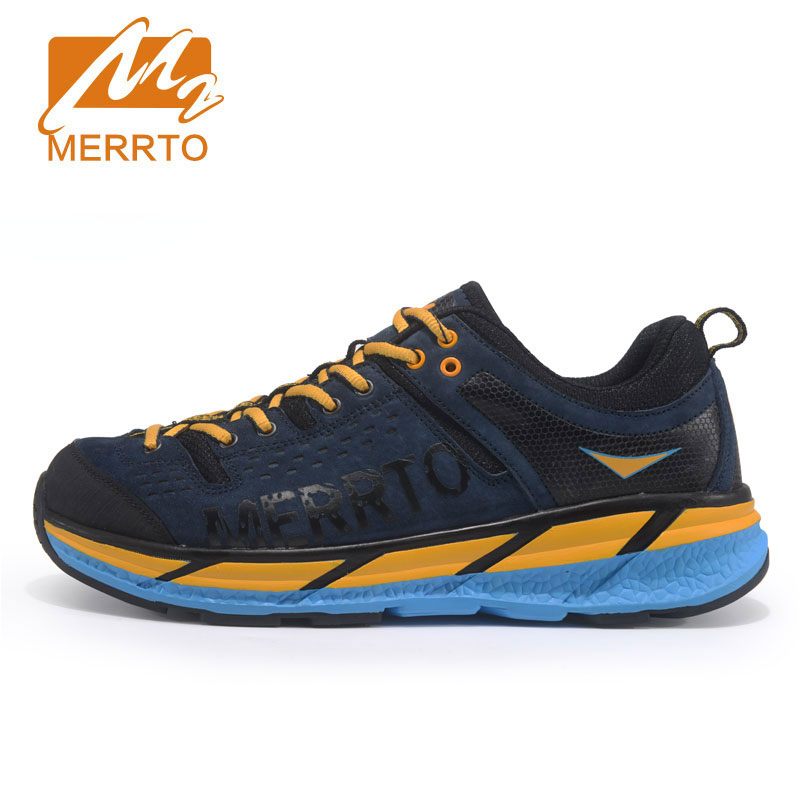 MERRTO Mens Outdoor Running Shoes Leather Sports Sneakers Breathable Running Sneakers For Men Cushioning Brand Sport Shoes Man