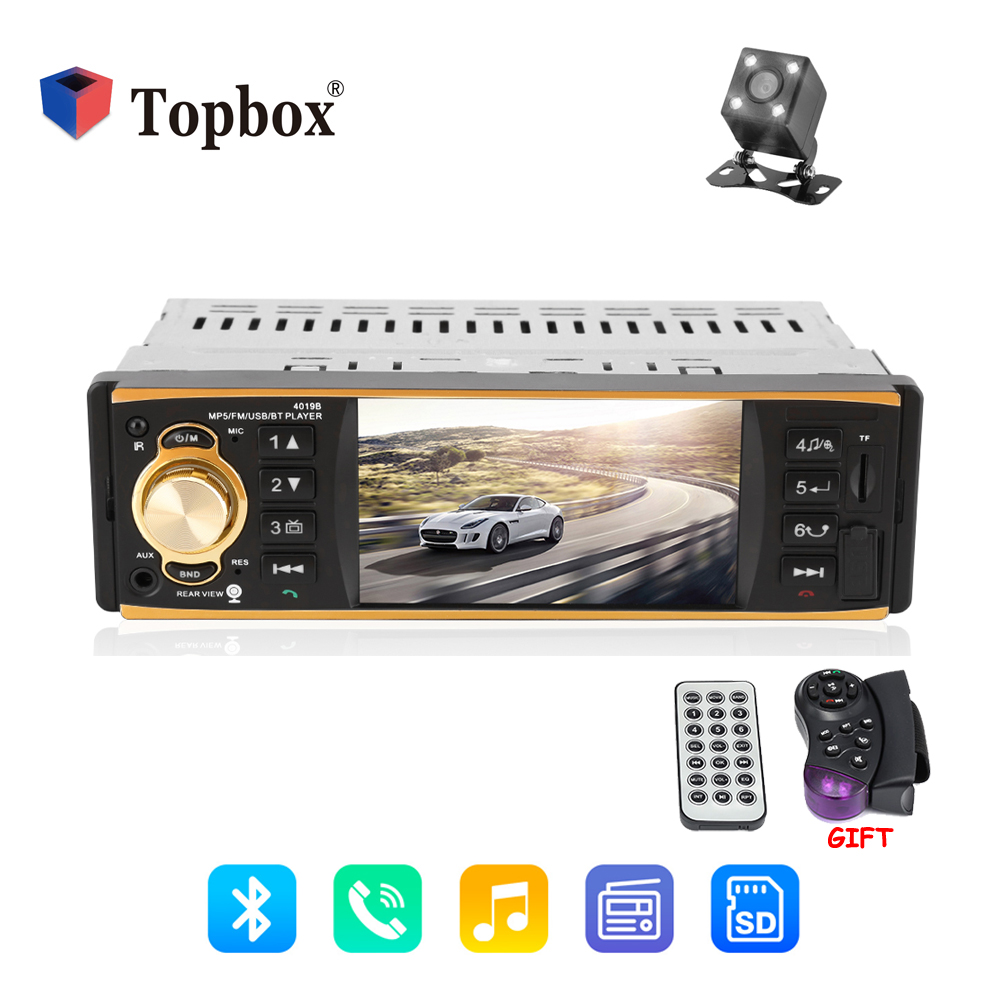 Topbox 12 v Autoradio 4019B 1 Din Rádio Do Carro de Áudio Estéreo FM Estação de Rádio Bluetooth MP3 Jogador Câmera de Visão Traseira controle remoto