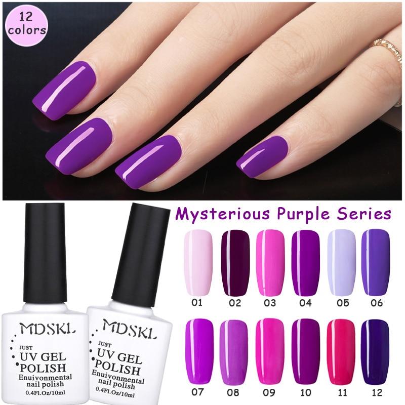 MDSKL 12 צבעים רומנטי סגול סדרה UV ג'ל נייל - עיצוב ציפורניים