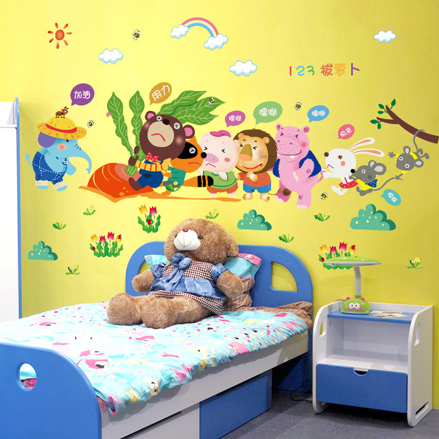Large animal models pulling radishes combination wall stickers ...